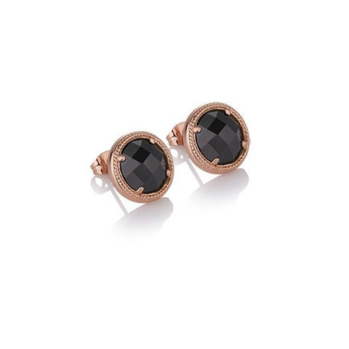 Guinness Rose Gold Plated Earrings Black Stone by Newbridge