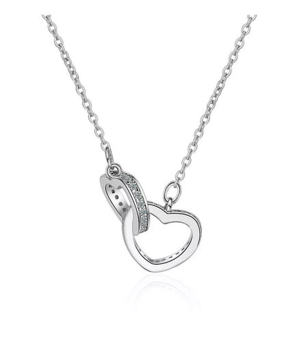 Interlocking Necklace With Two Hearts