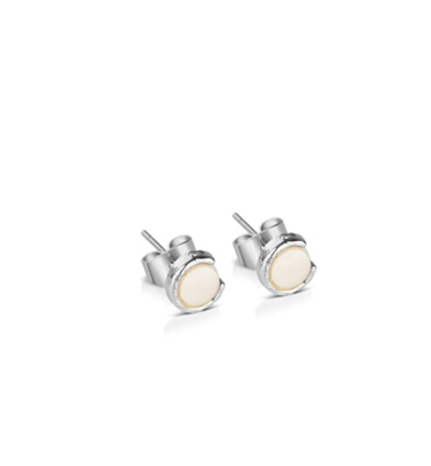 Silver Plated Earrings with Natural Shell Pearl