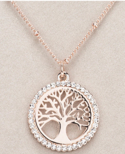 Newgrange Living – Rose Gold Tree of Life Pendant