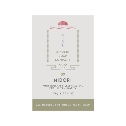 KIKUCHI BAR SOAP CO. 09 MIDORI WITH ROSEMARY ESSENTIAL OIL FOR MENTAL CLARITY 100ML