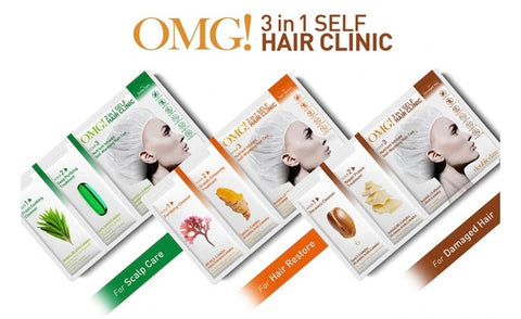 DOUBLE DARE OMG 3 STEP HAIR CLINIC GIFT BOX (CLEANSER, TREATMENT, HAIR MASK) 3 SETS