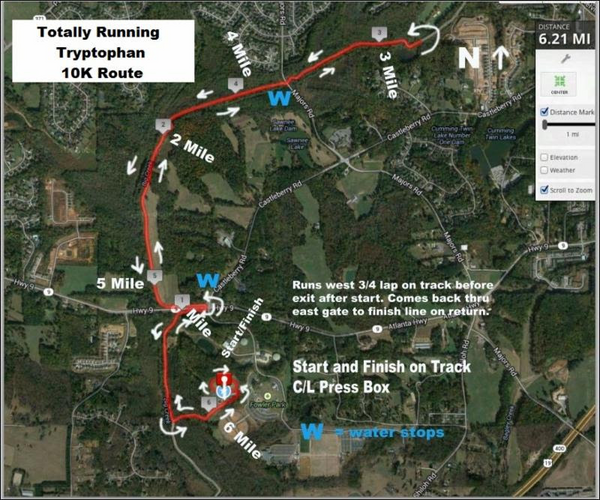 Tryptophan 10k Road Race Map