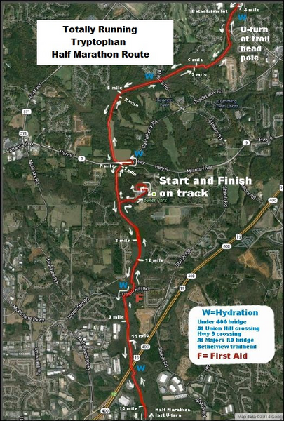 Tryptophan 5k Road Race Map