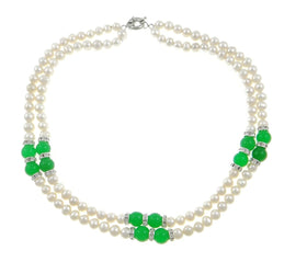 StunningBoutique Awesome Handcrafted 2 Strand Natural Charming Fresh Water Pearl Beaded Necklace BlATfv8q08
