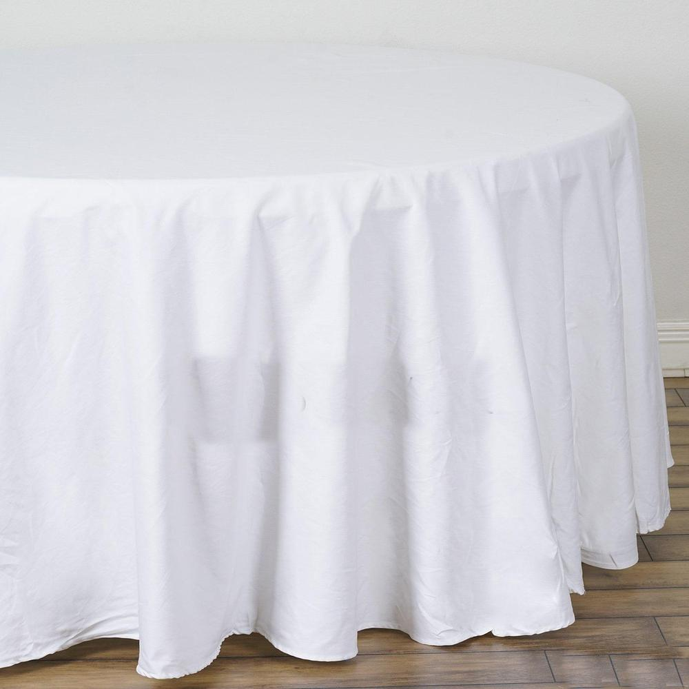 "120"" Round Table Linen Cloth - White (Used) Scratch and Dent"