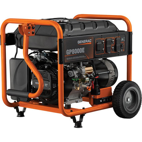 Generac GP8000E Portable Generator — 10,000 Surge Watts 8.000 Rated Watts, Electric Start