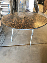 48'' ROUND Wood Folding Banquet Table - Used Scratch and Dent