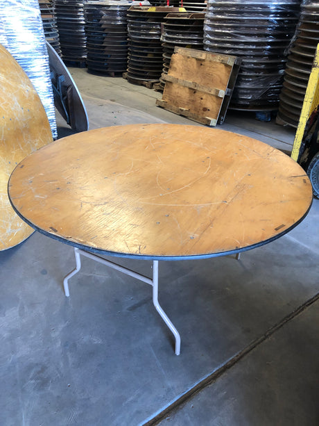 60'' ROUND Wood Folding Banquet Table - Scratch and Dent Clearance.