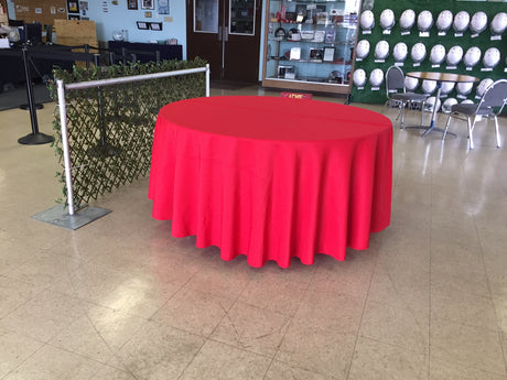 "120"" Round Table Linen Cloth - Red (Used, Good Rental Condition)"