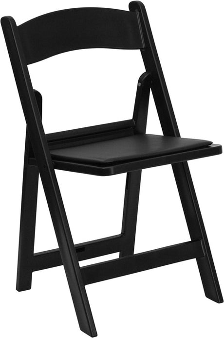 BLACK RESIN FOLDING CHAIR with Black Vinyl Padded Seat- Hercules Series