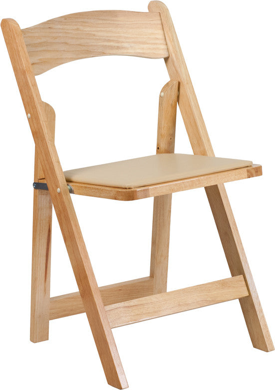 NATURAL WOOD Folding Chair with Vinyl Padded Seat- Hercules Series