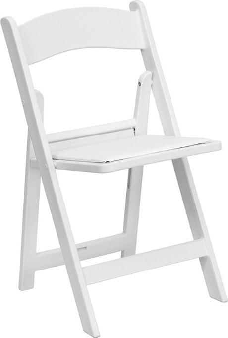 WHITE RESIN FOLDING CHAIR with White Vinyl Padded Seat- Hercules Series