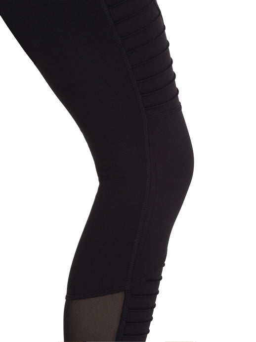 COMPRESSION MESH MOTO LEGGING IN BLACK