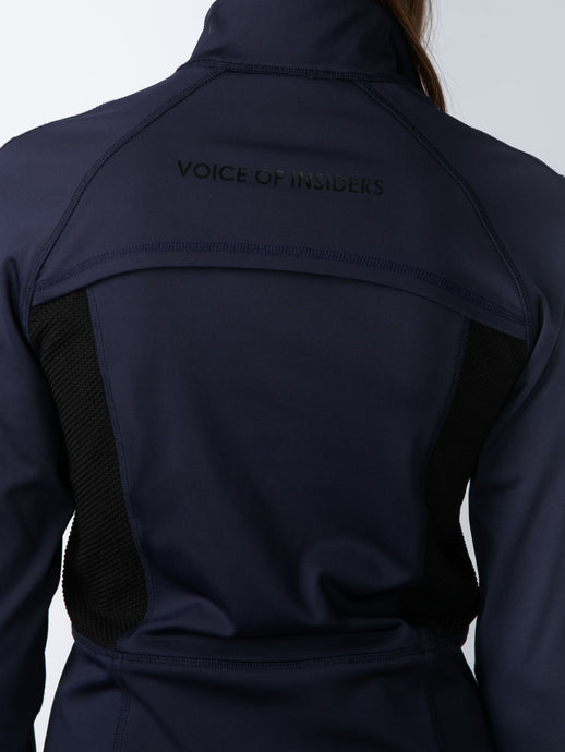 COMPRESSION FIT & FLARE JACKET IN MIDNIGHT