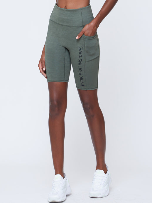 VOICE OF INSIDERS®/SEACELL™ CYCLE SHORTS | GREEN HEATHER