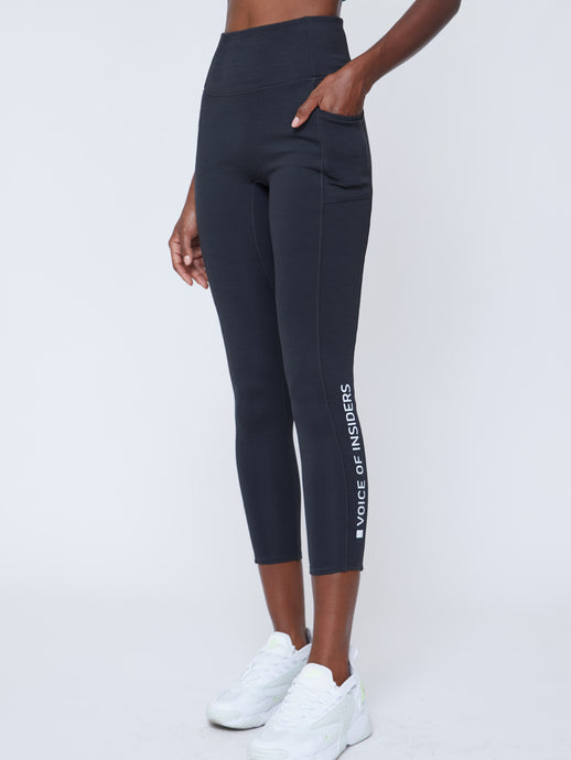 VOICE OF INSIDERS®/SEACELL™ PHONE POCKET 7/8 LEGGING | BLACK HEATHER