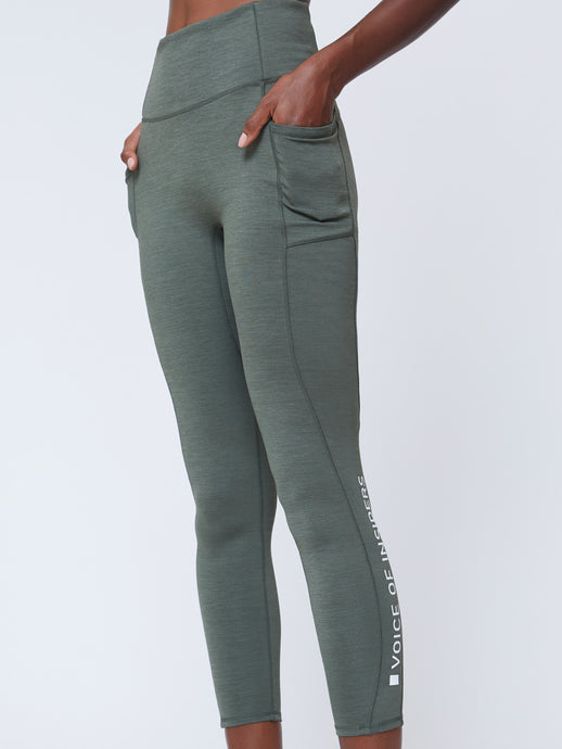 SEACELL PHONE POCKET 7/8 LEGGING IN GREEN HEATHER