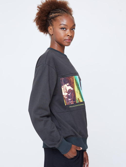 STRATOSPHERE OVER-SIZED UNISEX SWEATSHIRT IN FOREST GREEN