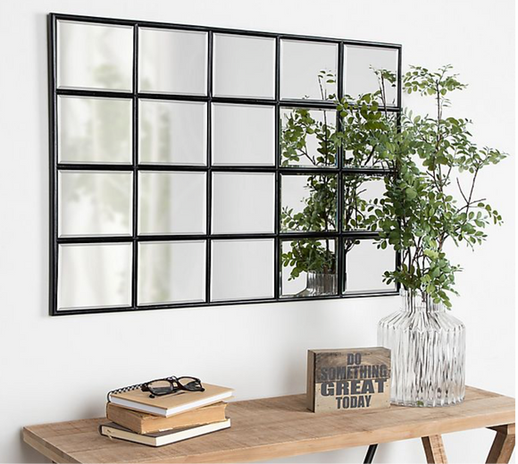 Black Window Pane Wall Mirror