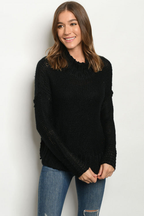 Black Loose Knit Sweater