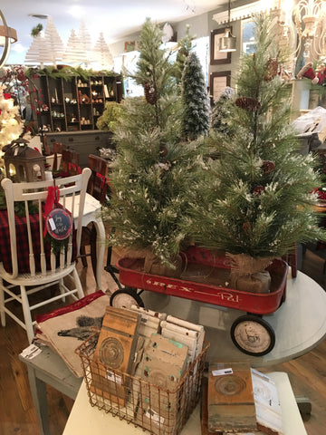 trees in vintage red wagon and vintage architectural wall decor