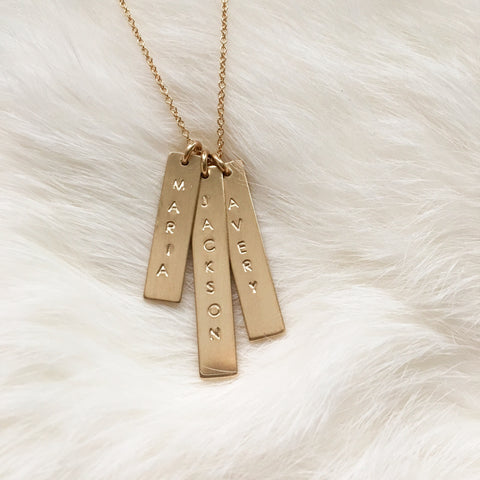 gold vertical stick necklace