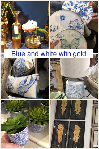 collage of blue and white decor