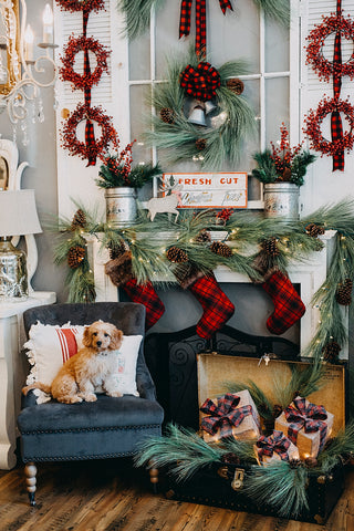 puppy siitting in front of mantel decorated with pine garland and plaid stockings