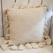 Square Cream Tassel Pillow