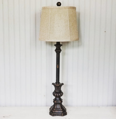 black and brown buffet lamp with oatmeal shade