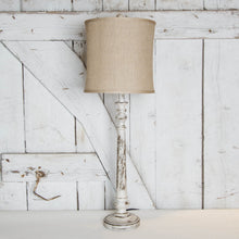 buffet lamp with white distressed base and burlap round shade