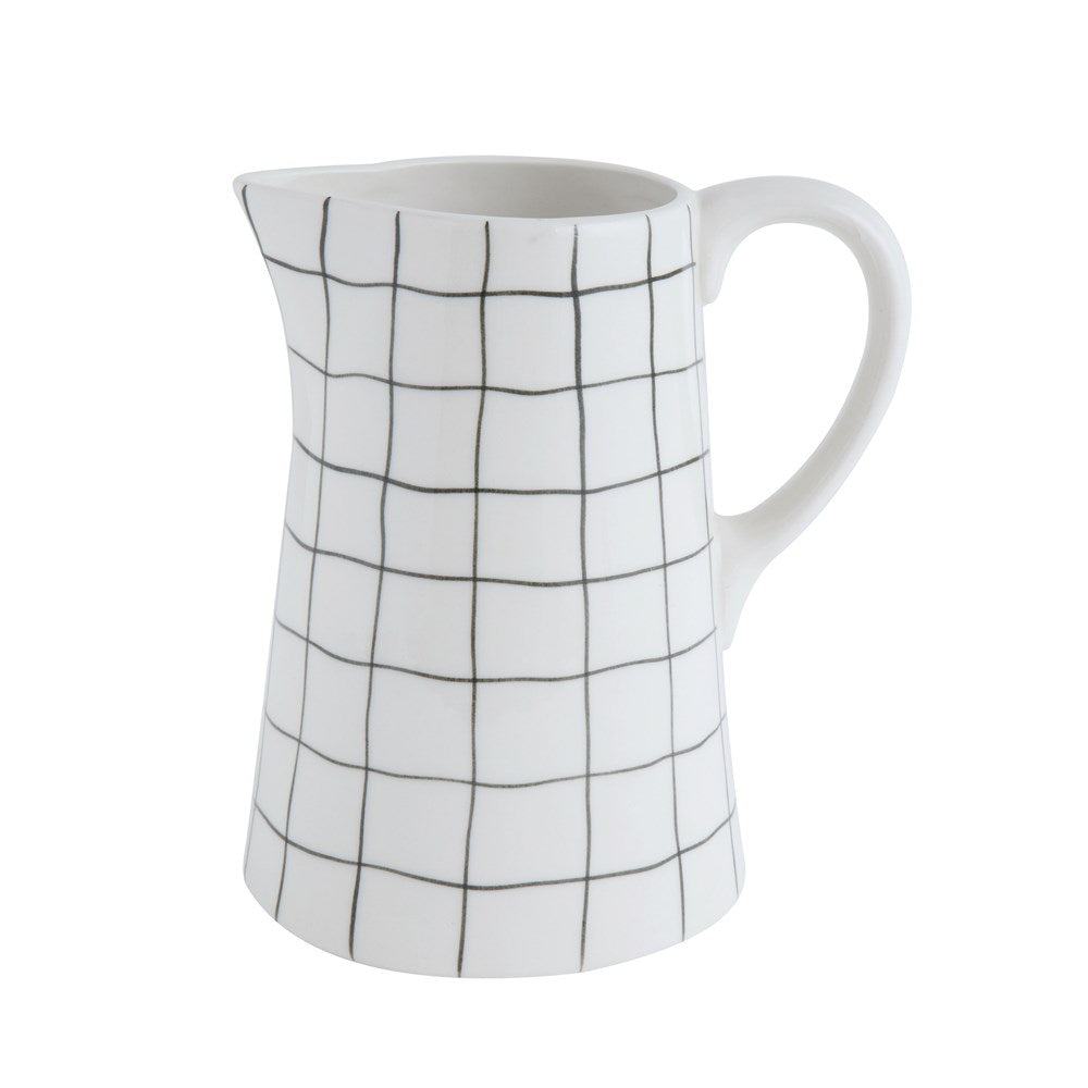 Stoneware Pitcher with Black Grid