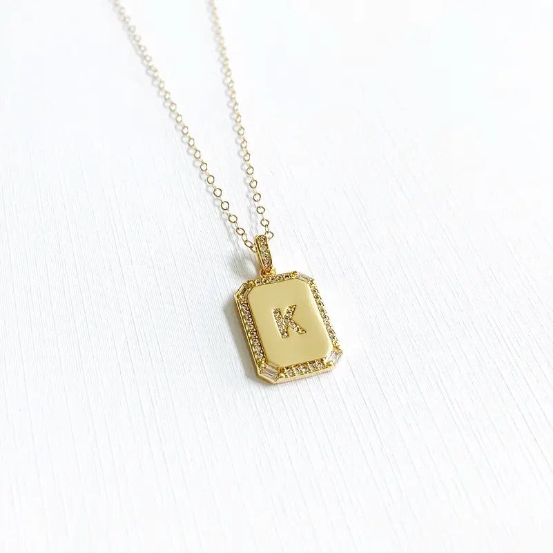 Gold Pave Initial Necklace