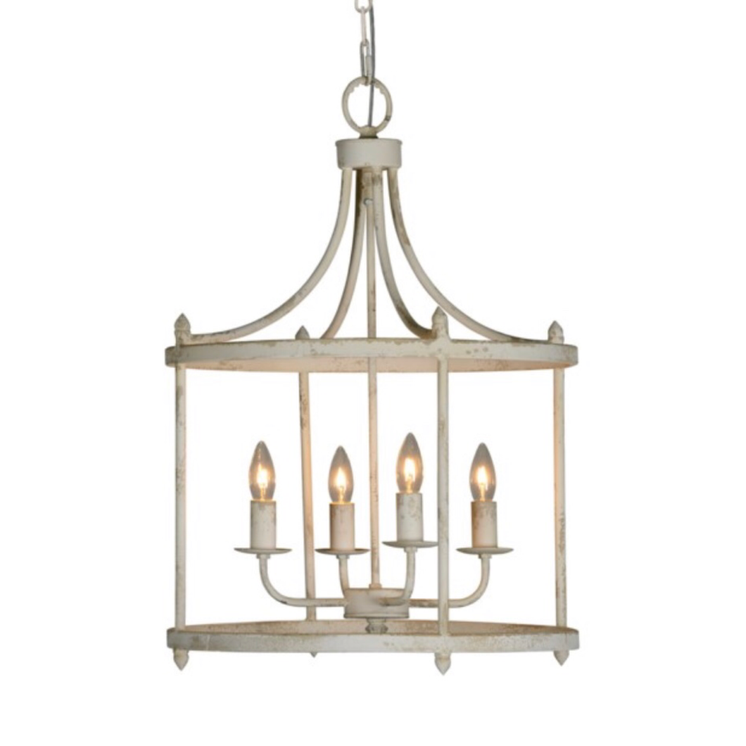 Round white metal chandelier