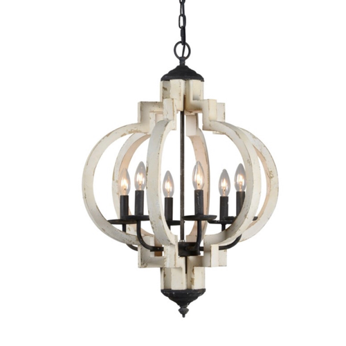 Black and white 6 light chandelier