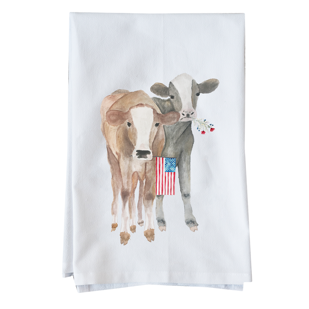 Patriotic cows kitchen towel