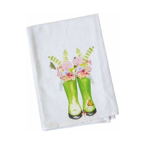 Floral boots kitchen towel