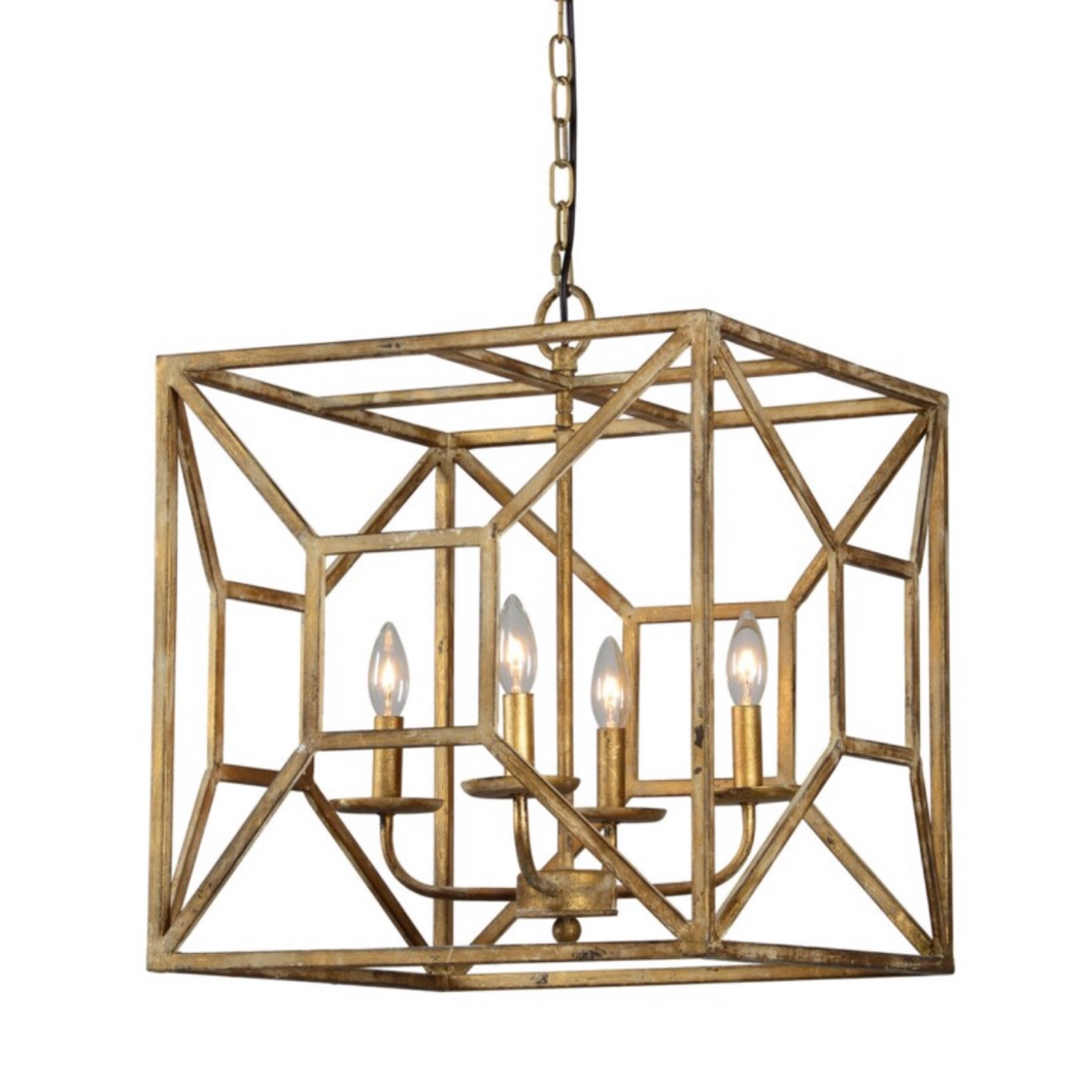 Gold geometric chandelier
