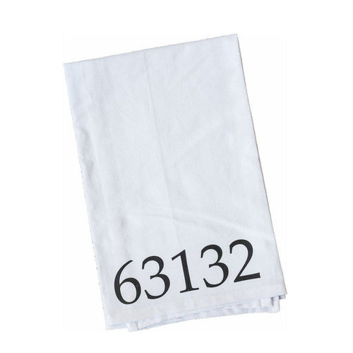 Custom zip code kitchen towel