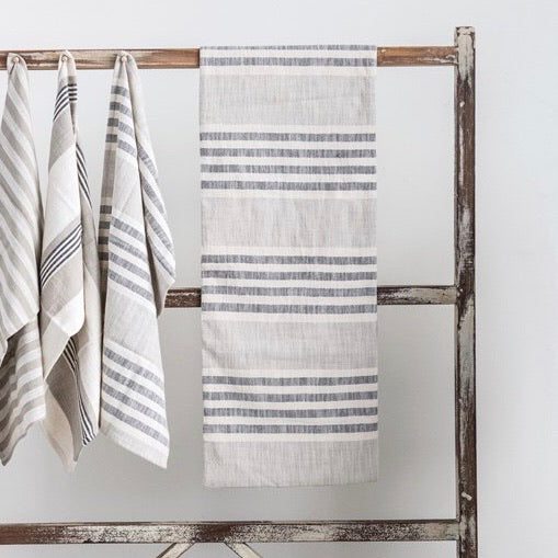 gray, white and cream striped table runner