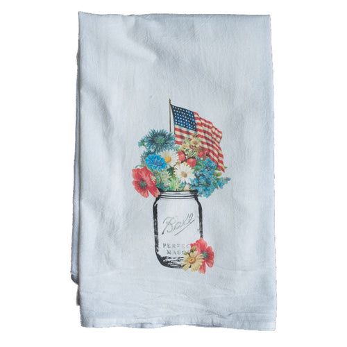 American flag mason jar kitchen towel