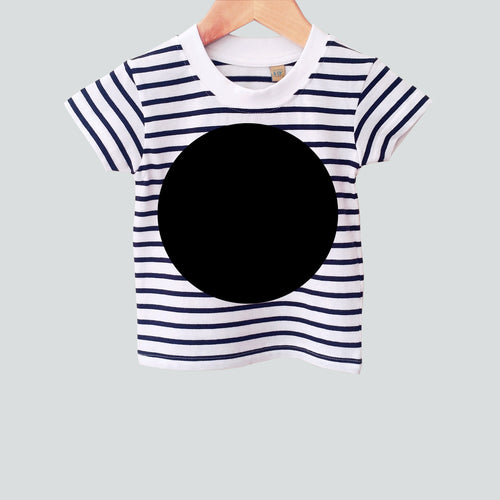 baby toddler nautical stripe t-shirt with black spot