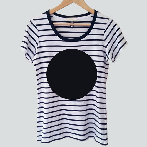 women's nautical stripe t-shirt with black spot