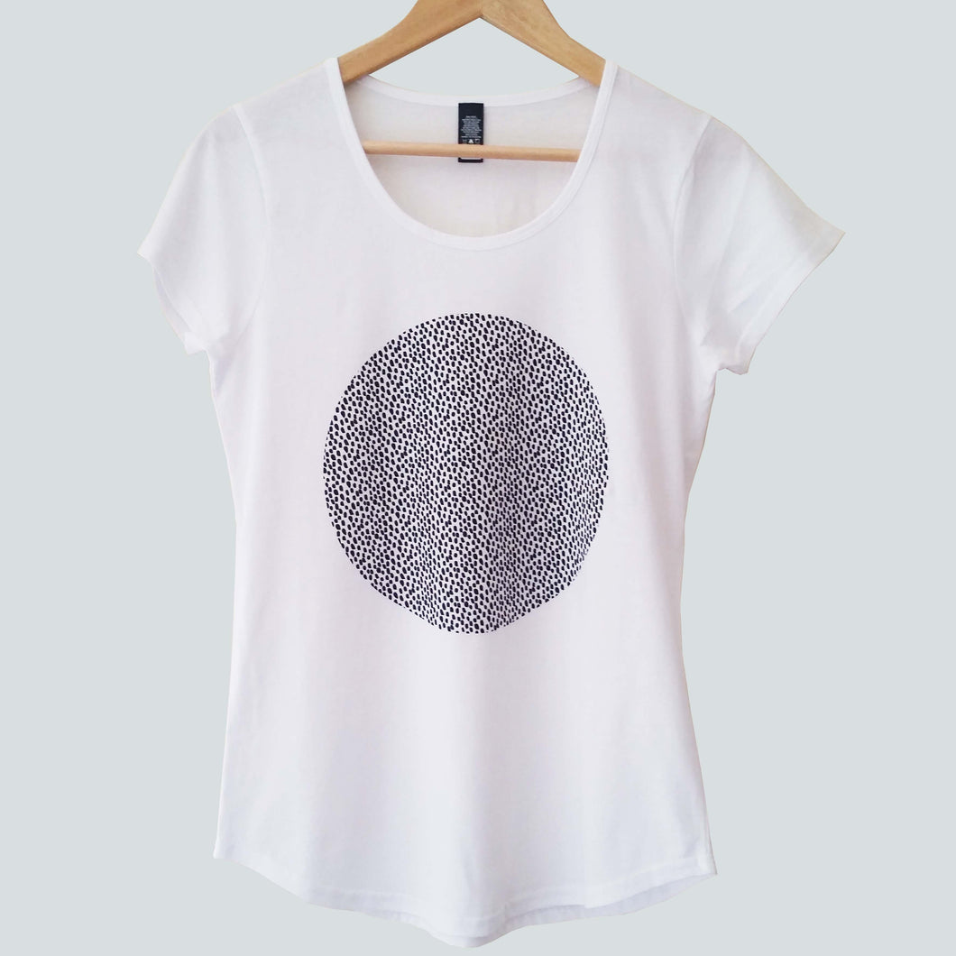 women's white t-shirt with black spots