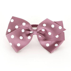 Large Rosy Mauve Polka Dot Hair Elastic