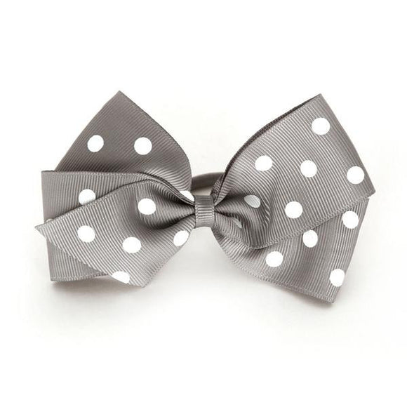 Large Silver Polka Dot Hair Elastic