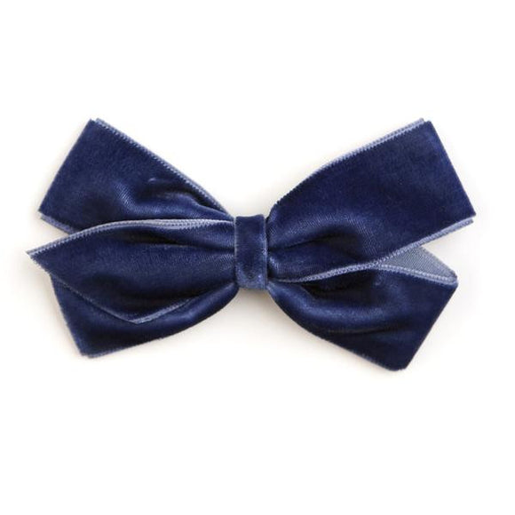 Medium Peacoat Velvet Hair Clip