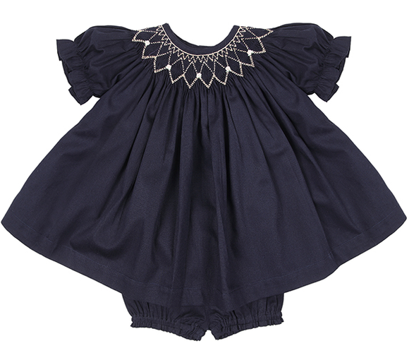 Charlotte Navy Blue Baby Blouse set