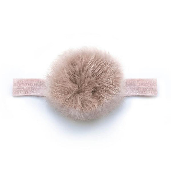 Baby Antique Mauve Pom Pom Headband